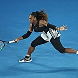 Serena Williams Wearing Geometric Stripes at the Australian Open in 2017