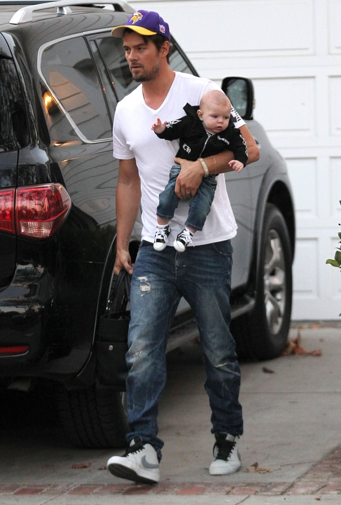 Josh Duhamel carried his son, Axl, after visiting a friend's house in LA on Sunday.