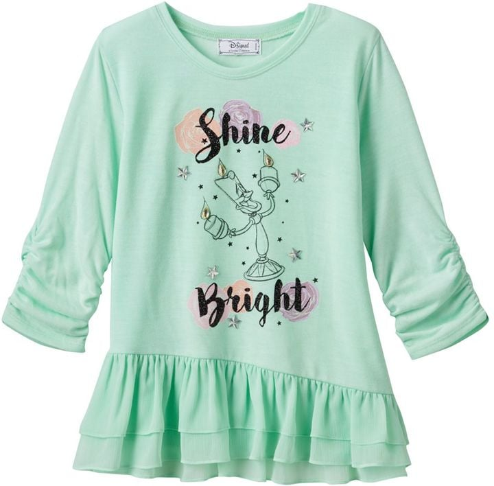 "Disney D-Signed Beauty and the Beast Girls Lumiere ""Shine Bright"" Hatchi Tee ($19, originally $28)"