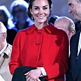 Kate was wearing a lace Dolce & Gabbana dress to the Royal Windsor Horse Show in 2016, but she kept this sophisticated red Zara coat on the whole time.