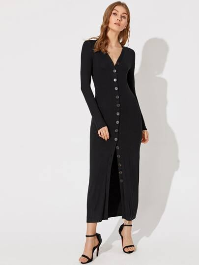 Shein Premium V Neck Button Front Fitted Dress