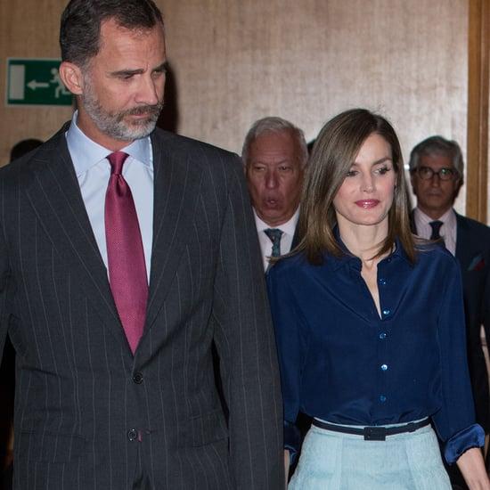Queen Letizia Wearing a Carolina Herrera Skirt