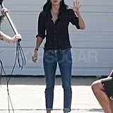 Courteney Cox got into character as Jules.