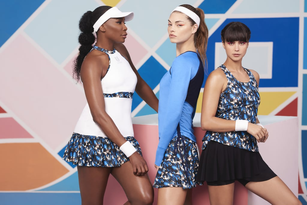 """Venus Williams has won seven Grand Slam singles titles in her career spanning over two decades — and, in 2002, she became the first black tennis player to earn a No. 1 ranking. Aside from tennis, she's learned that her off-court passion is fashion and design, which led her to create her activewear company, EleVen, in 2012. The 39-year-old told POPSUGAR via email, """"I always try and push myself to do and be the best that I can be in every aspect of my life. Whether I am on the court, designing the next EleVen collection, or spending time with my family, I try to be better every day."""" Venus's newest collection for EleVen, Flashes, is all about embracing your sense of bold, whatever that may be, which is why she wanted there to be pops of blue that bring an element of excitement to workouts. Venus launched her Phoenix collection this Summer and said it was """"inspired by the mythological bird that represents renewal, as I wanted to design something that celebrated a new season."""" The Flashes collection, she explained, """"continues this energy through the bold print and pops of color to keep us all motivated as the seasons change and temperatures drop."""" Whether you're headed to yoga or hitting an indoor cycling class, these pieces are meant to flow with you and keep you on your game. Flashes features tennis skirts, jackets, tanks, short- and long-sleeved tees, and more with four-way stretch material as well as EleVen Ozone for protection against UVA and UVB rays (because even though we're transitioning into Fall, proper cover from the sun shouldn't be overlooked!). The clothes also promise to be quick-dry and breathable, and prices range from $29 to $109. When asked what she wants a person wearing EleVen, especially the new Flashes collection, to feel, Venus said, """"I want her to feel like she can rule the world. I love wearing Flashes because the energy empowers me — the print and color match up with the intensity of my workouts."""" With EleVen, Venus gets to infuse her """"passio"""