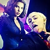 "Miley Cyrus sang to her ""baby mama ScarJo."" Source: Instagram user mileycyrus"