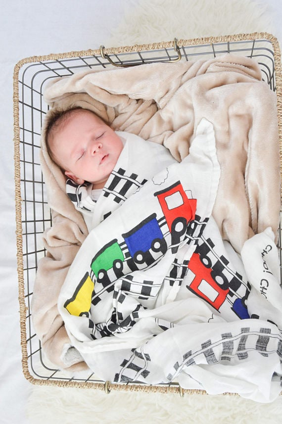 baby trains swaddle blanket