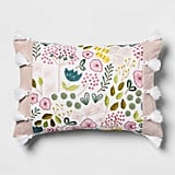 Get the Look: Pink Floral Embroidered Lumbar Pillow