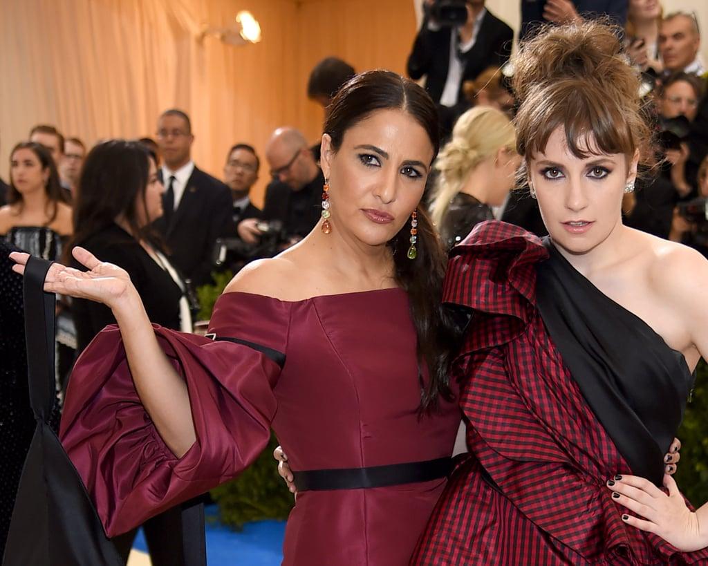 Lena Dunham and Girls showrunner Jennifer Konner wore similar maroon gowns to the event.