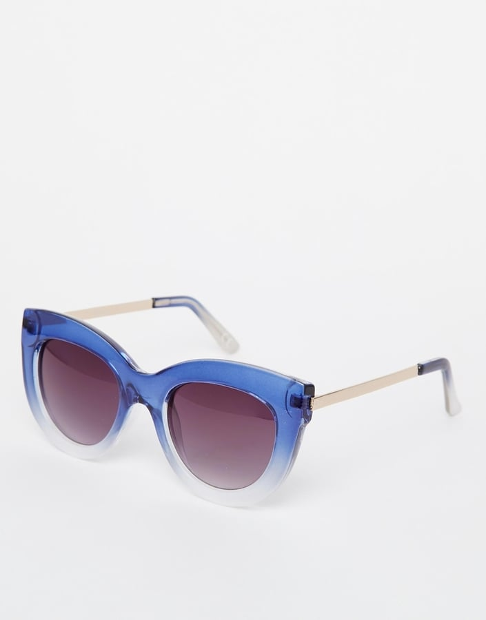 Asos Chunky Cat Eye With Metal Arms And Graduated Blue Frame ($21)