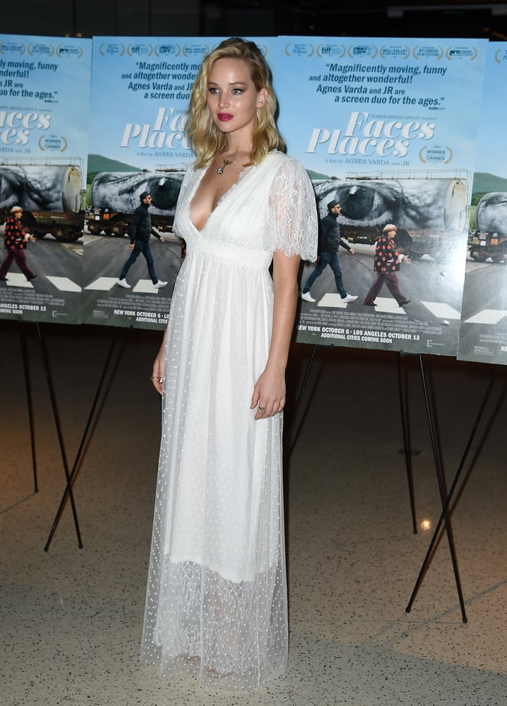 Jennifer Lawrence Wearing L. Wells Wedding Dress at Premiere