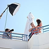 Eva Longoria got prepped for her rooftop photo shoot at the Cannes Film Festival.
