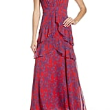 Charles Henry Floral Tiered A-Line Maxi Dress