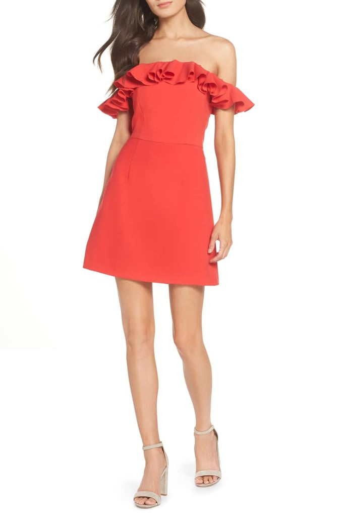French Connection Whisper Light Off-the-Shoulder Ruffle Dress