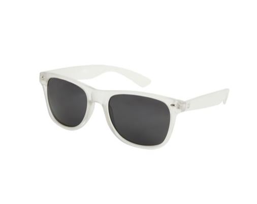White sunglasses are a great way to take a break from your basic black or tortoiseshell pair; plus, a wayfarer shape looks great on everyone.  Wet Seal Frosted Wayfarer Sunglasses ($8)