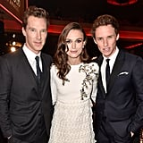 Keira Knightley was caught in the middle of a hot Brit sandwich — composed of Benedict Cumberbatch and Eddie Redmayne — at the Hollywood Film Awards.