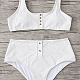 Shein Plus Button Accent Rib Knit Bikini Set