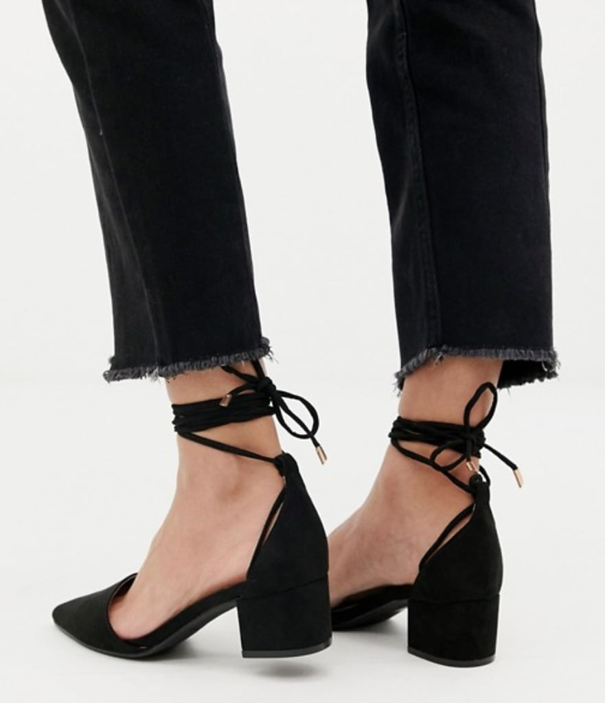 ddd81f3687cf RAID Lucky Black Ankle Tie Heels