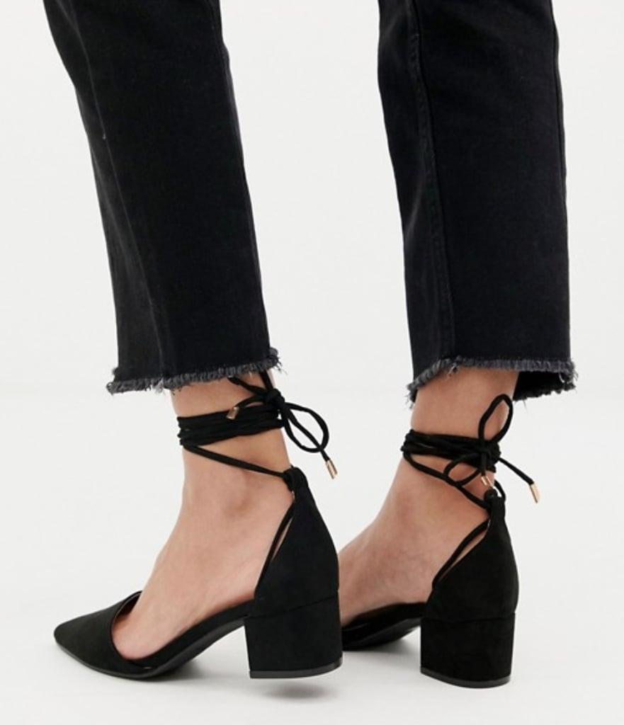 d2a25174dbc RAID Lucky Black Ankle Tie Heels