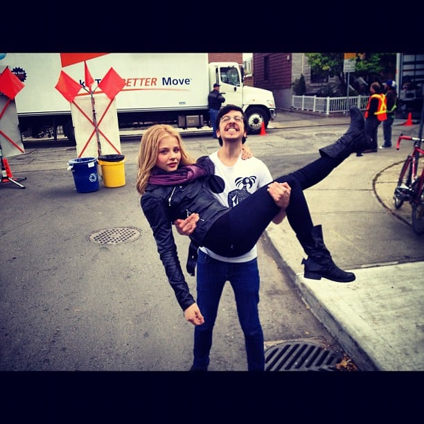 Chloe Moretz got a lift from her Kick-Ass 2 costar, Christopher Mintz-Plasse. Source: Instagram user cmoretz