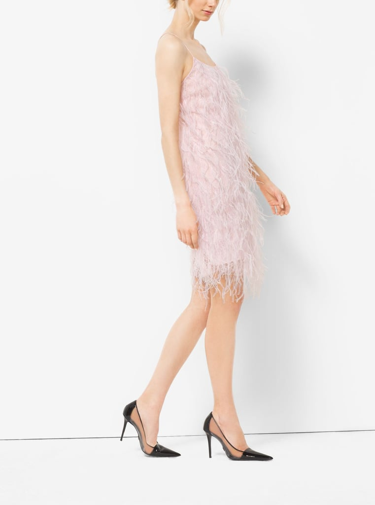 Michael Kors Ostrich Feather-Embroidered Slip Dress