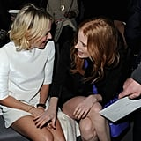 Naomi Watts and Jessica Chastain smiled while sitting in the front row at the Louis Vuitton show on Wednesday in Paris.