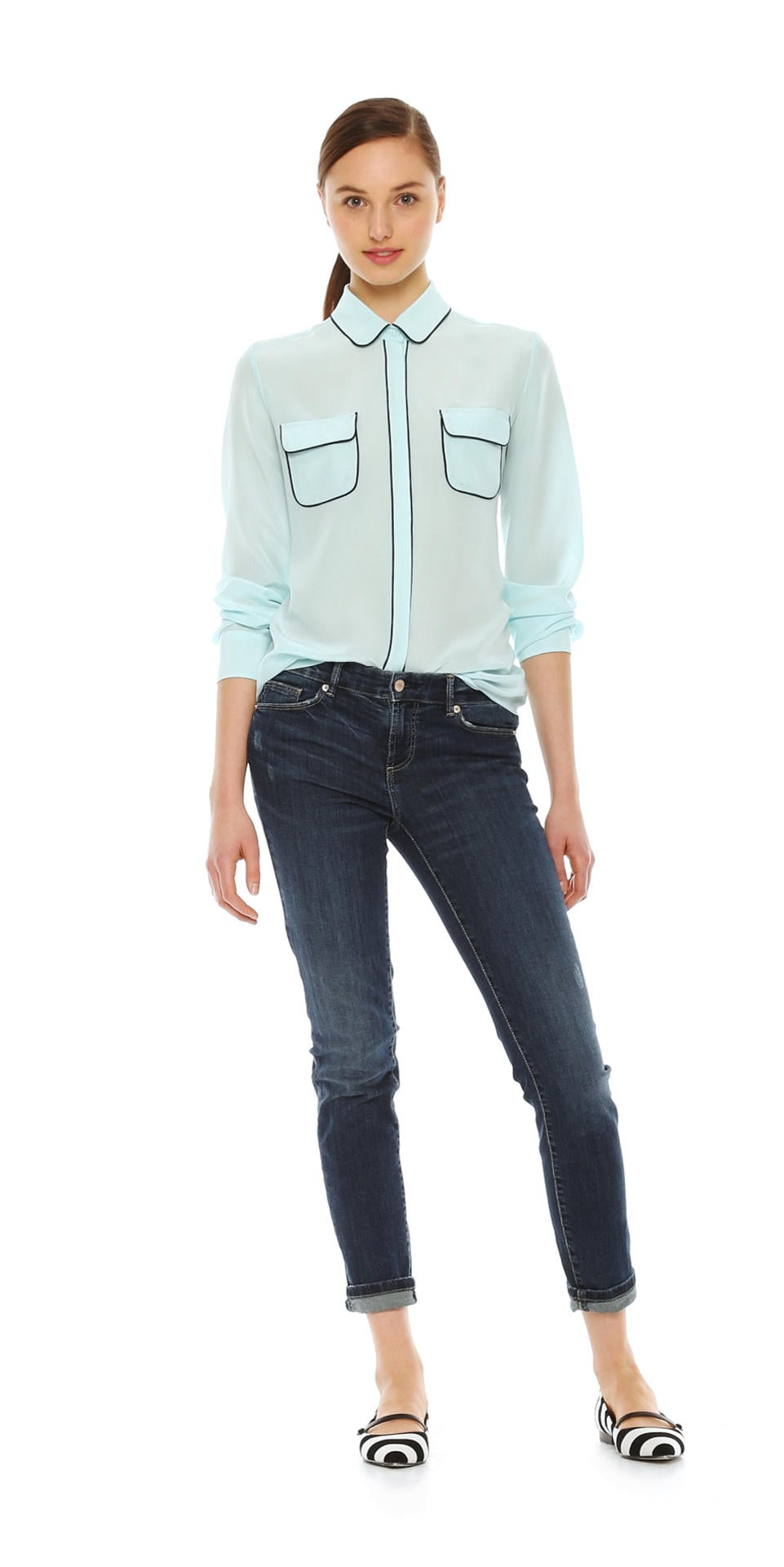Joe Fresh Piped Silk Blouse