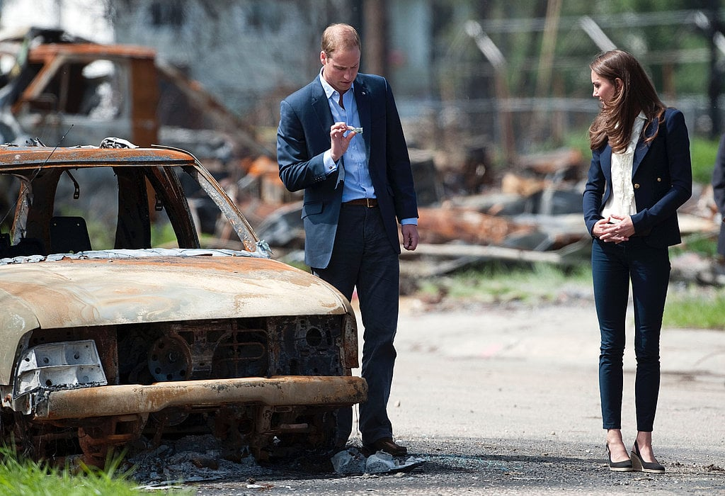 William and Kate inspected a fire-damaged area in Slave Lake in Alberta, Canada, in July 2011.