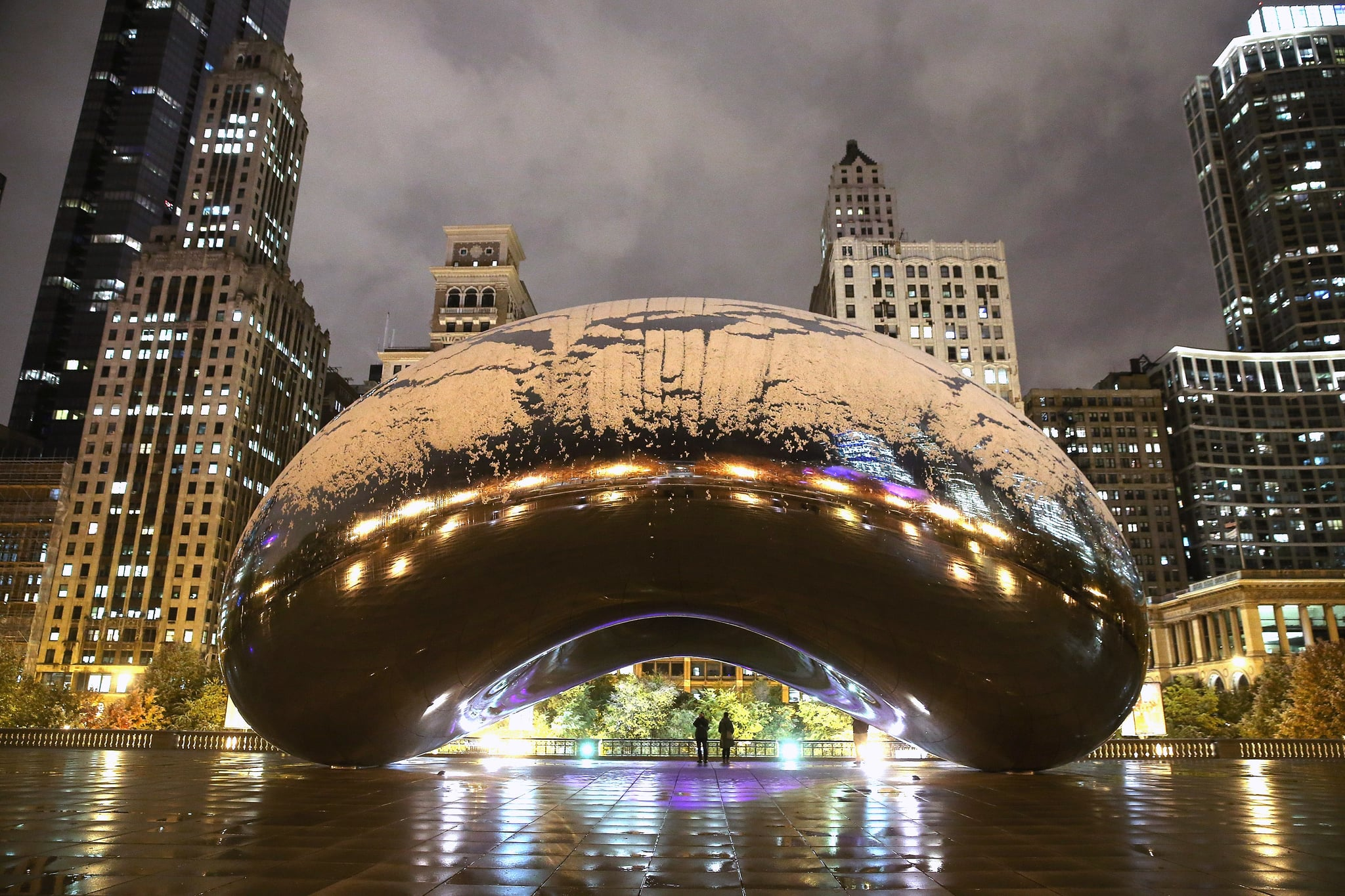 "Chicago saw its first snow in early November, which left Cloud Gate — ""The Bean"" — covered in flakes."