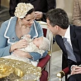 Danish Crown Prince Frederik and Crown Princess Mary shared a sweet look at the christening of their son Prince Christian of Denmark when he was christened at the Christiansborg Palace Chapel in Copenhagen on Jan. 21, 2006.