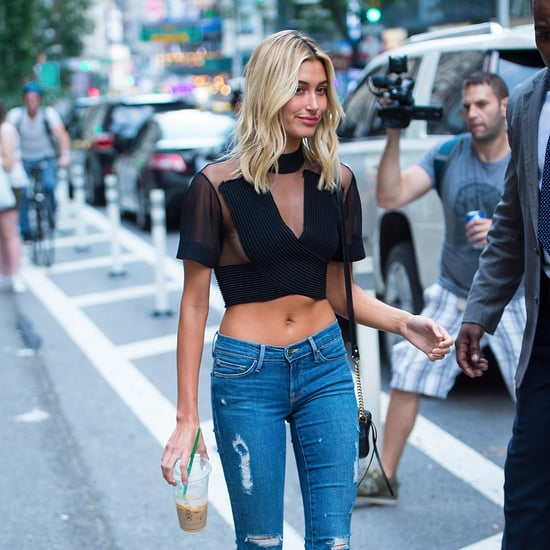 Hailey Baldwin Wearing Sheer Black Balmain Crop Top