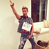 Lance Bass went for a throwback look with his *NSYNC costume.