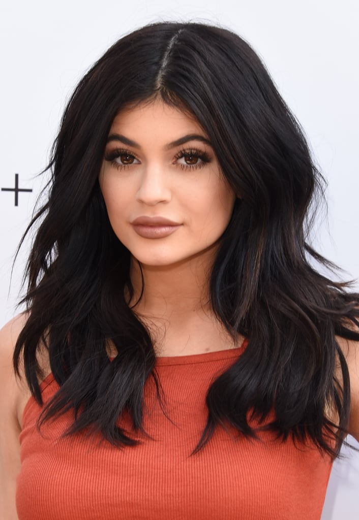 Kylie Jenner With Centre Part and Black, Wavy Hair in 2015