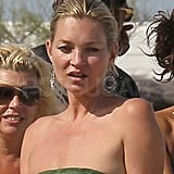 Kate Moss soaked up the sun.