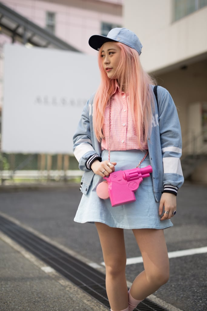 Amp Up A Pale Pastel Look With A Bright Bag Tokyo Fashion Week Street Style Fall 2016