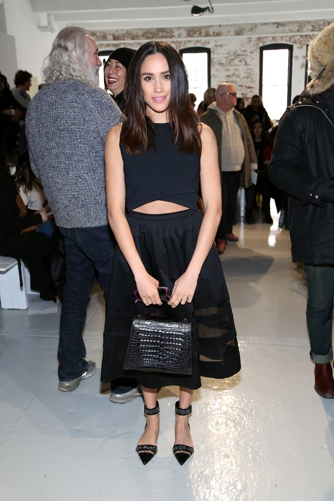 When she attended the Misha Nonoo fashion show in February 2015, Meghan stunned in an all-black outfit.