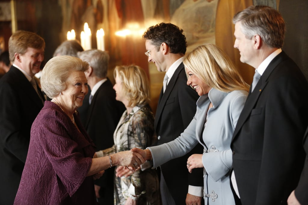 Princess Beatrix of the Netherlands greeted Minister of Defence Jeanine Hennis-Plasschaert as she arrived for the Act of Abdication.