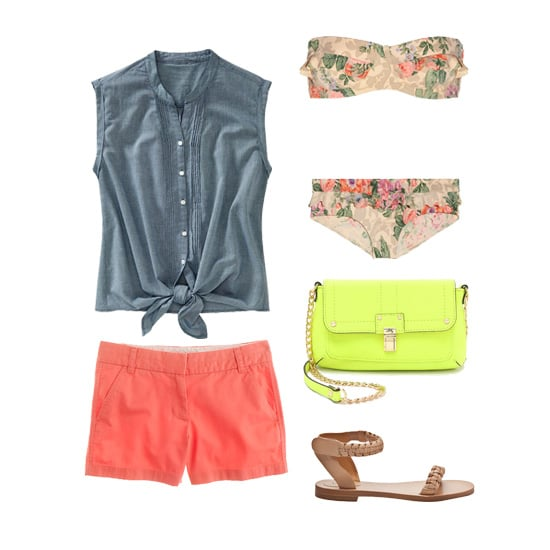 "Hit the beach in a girlie, romantic vintage floral bikini — layer it with salmon-hued shorts, a denim button-down tied at the waist, and cool daytime accessories like a neon crossbody bag and flat sandals. Get the look:  Old Navy Chambray Tie-Hem Top ($18, originally $25) Zimmermann Devoted Floral-Print Bikini ($225) Milly Kelsey Leather Mini Bag ($198) Chloé Braided Flat Sandal ($695) J.Crew 4"" Chino Shorts ($45)"