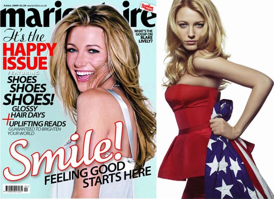 Blake Lively On the April 2009 Cover Of Marie Claire UK, Talking About Penn Badgley, Dogs, Mickey Rourke and More