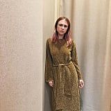 A Ribbed Sweater Dress With Metallic Sheen