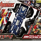 Jakks Pacific is introducing the XPV Marvel RC Rollover Rumbler, a remote-control car that kids can switch up between Captain America and Iron Man. But even more impressive are flips and 360s the vehicle can do on command.