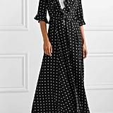 We Are Leone Ruby Ruffled Polka Dot Silk Crepe De Chine Robe