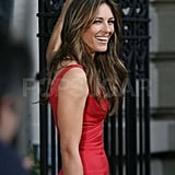 Elizabeth Hurley in a red dress on the set of Gossip Girl.