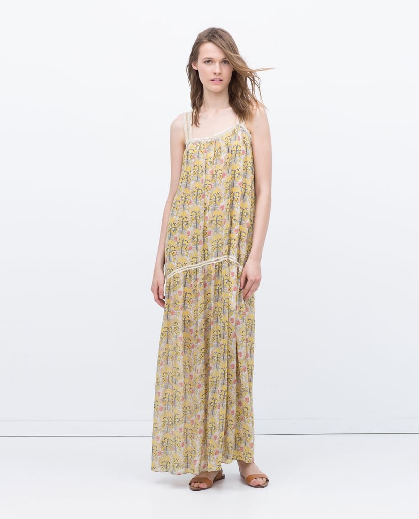7ec7973c Zara Long Strappy Printed Dress ($100) | Jennifer Aniston Wearing ...