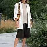 Style White Heels With a Matching Blazer and a Bucket Hat