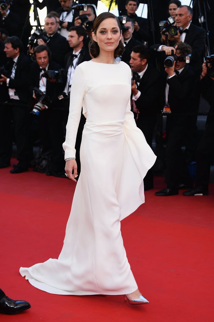 Stark white looked glamorous on Marion Cotillard, who chose a white silk crepe Dior gown and shoes to premiere The Immigrant.
