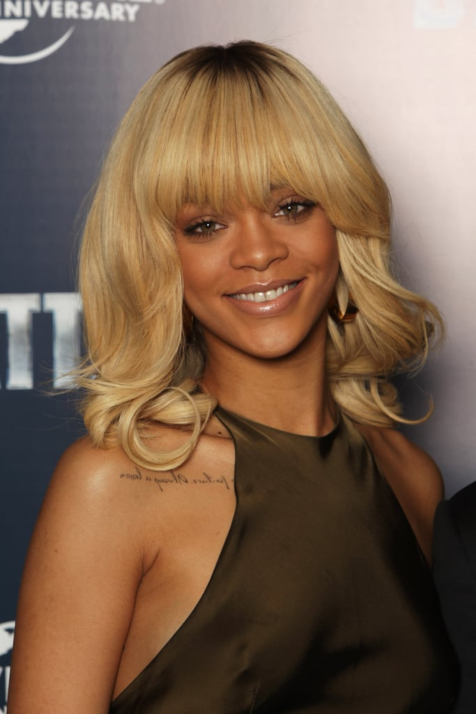 Rihanna gave a smile at a photocall for Battleship in London.