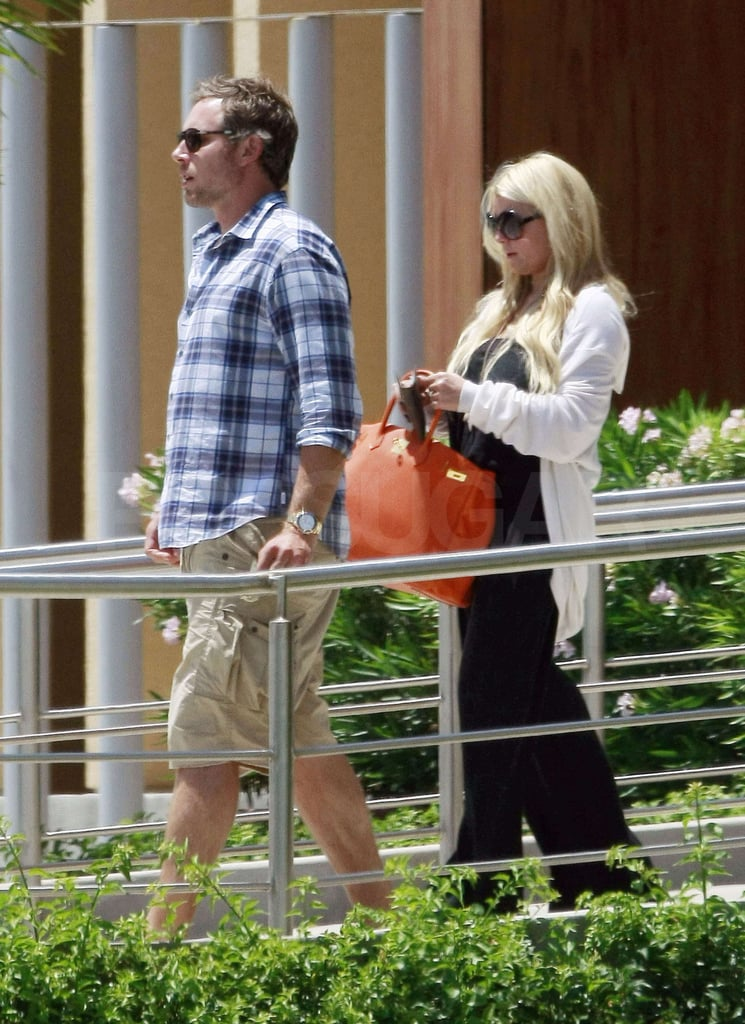 Jessica Simpson had her Birkin bag and her man, Eric Johnson, by her side over the weekend as she boarded a private plane out of LA. Jessica has been spending most of the Summer in California with her fiancé, and she recently got to celebrate her best friend CaCee Cobb's own engagement to Donald Faison. Last week, Jessica and Eric took in an Adele concert with fellow celebrities like Robert Pattinson, and they've also been bonding with Eric's parents and Jessica's family in recent months. Jessica is making the most of some downtime before she heads back to TV this Fall with her reality series Fashion Star. She's enlisted fellow celebrity-turned-designer Nicole Richie for her stylish new endeavor, and the pair will judge and mentor the contestants on the show. Jessica's focus is on the new project in the weeks leading up to its debut. She recently said she doesn't have a wedding gown picked out, and she and Eric have yet to announce a date, though the engaged duo are still clearly inseparable.