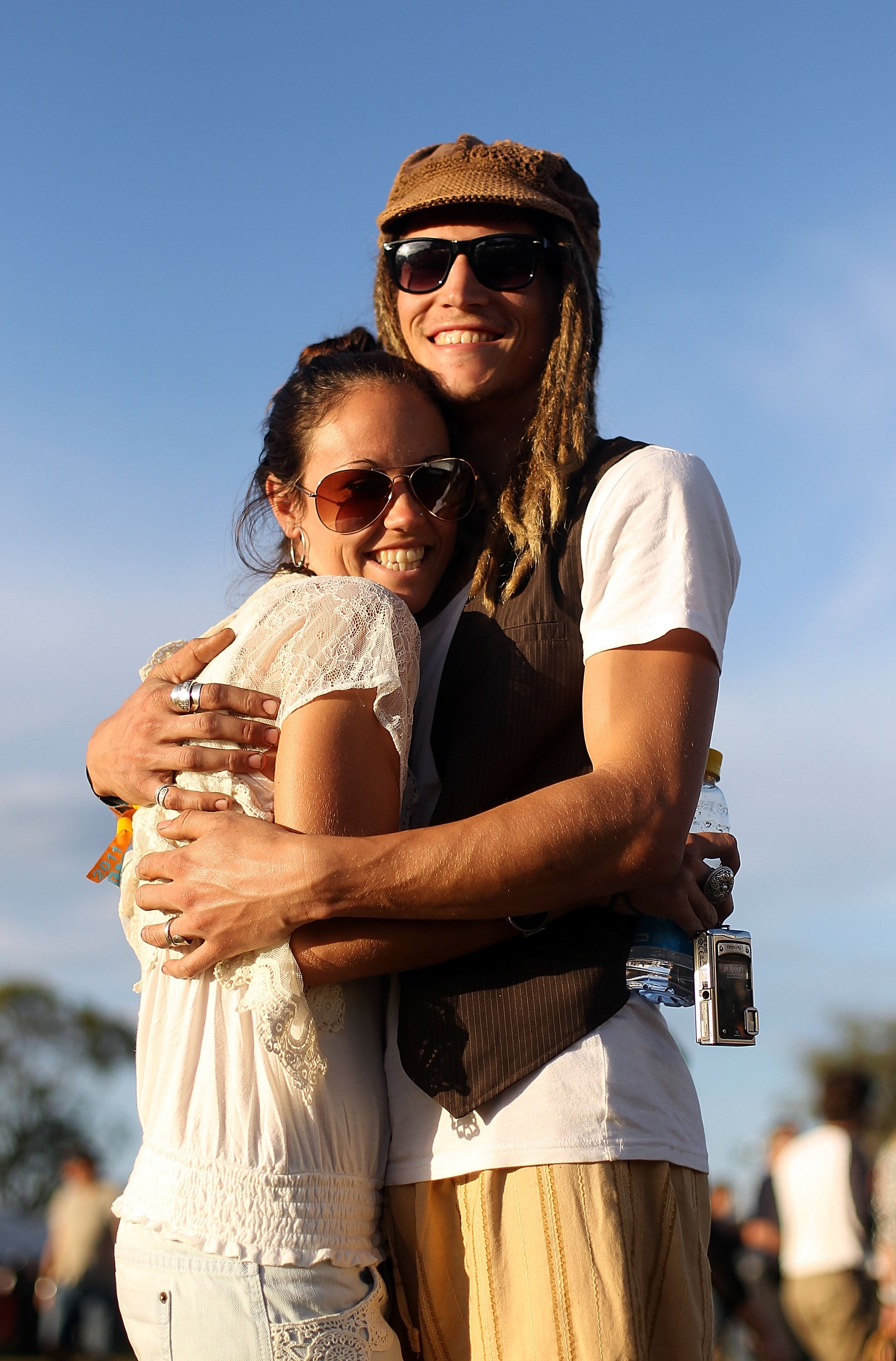 This pair of music fans snuggled up at the Bluesfest Music Festival in Byron Bay, Australia.