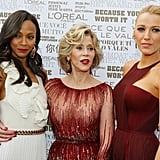 Zoe Saldana, Jane Fonda, and Blake Lively took a group photo at the opening ceremony.