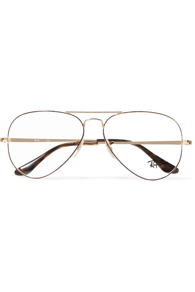 df2e2e2b794b Ray-Ban Aviator Gold-Tone and Tortoiseshell Acetate Optical Glasses ...